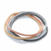 J-Jaz Four Strand Four colour plated Sterling silver flexible mesh bracelet